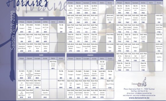 Horaire 2019-2020